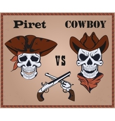 Confrontation pirate against cowboy vector