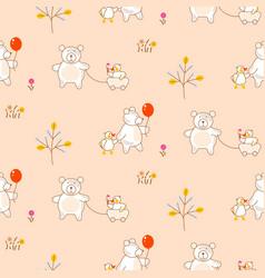 Cute bear and duck friends seamless pattern vector