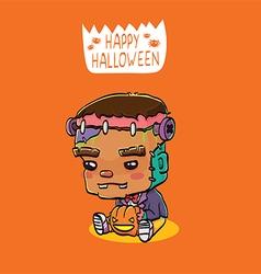 Cute halloween character card - frankenstein vector