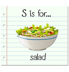 Flashcard letter s is for salad vector
