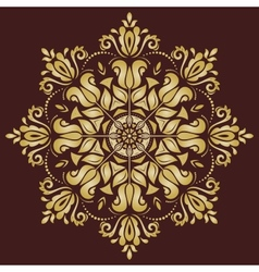 Floral pattern orient golden ornament vector