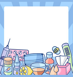 Frame with medicines and medical objects vector