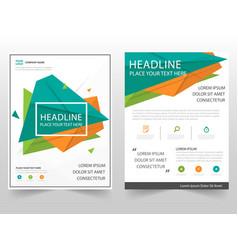 Green orange triangle geometric leaflet brochure vector