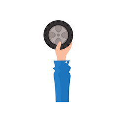 hand holding car wheel flat style icon vector image vector image