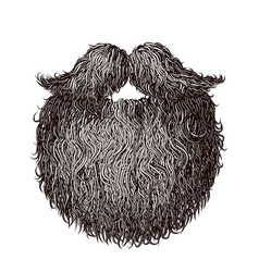 Heavy beard and mustache vector