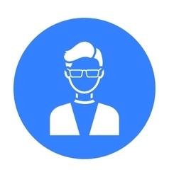 Man with glasses icon black single avatarpeaople vector