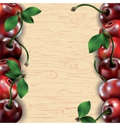 Many cherries on wooden texture background vector image