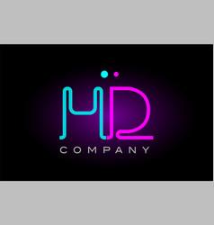 Neon lights alphabet hd h d letter logo icon vector