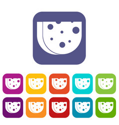 Piece of swiss cheese icons set vector