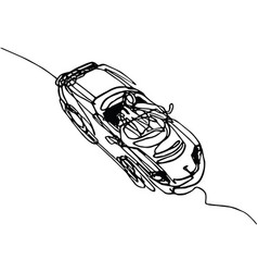 roadster cabriolet continuous line drawing vector image