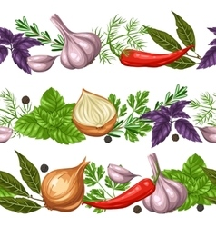 Seamless borders with various herbs and spices vector image