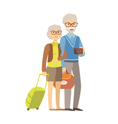 Senior couple tourists traveling with suitcases vector