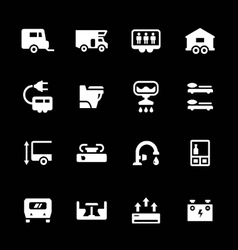 Set icons of camper caravan trailer vector image