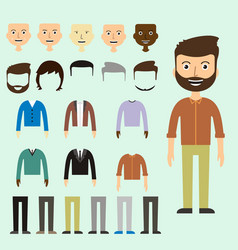 Set of dress up constructor with different men in vector