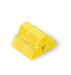 Three gold bars icon isometric 3d style vector