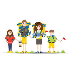 tourists with backpacks isolated on white camping vector image vector image