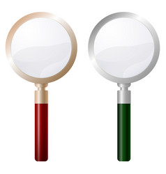 Two magnifying glass isolated on white background vector
