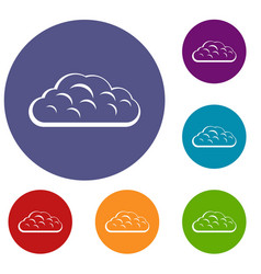 Winter cloud icons set vector