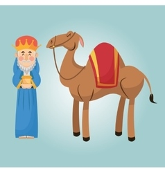 Wise man cartoon with gift design vector image vector image