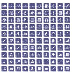100 diagnostic icons set grunge sapphire vector