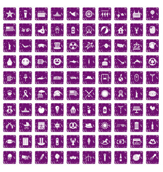 100 summer holidays icons set grunge purple vector image vector image