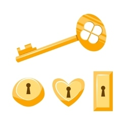 Keys gold cartoon  isolated on vector