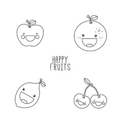 Line drawing fruits vector