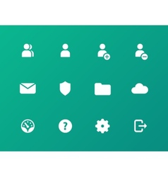 User account icons on green background vector