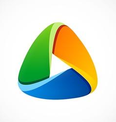 3D triangle social media abstract logo vector image vector image