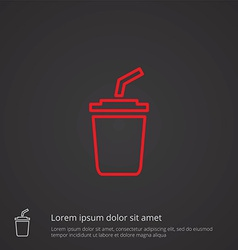 Coffee outline symbol red on dark background logo vector