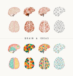 Brain and ideas icon set vector