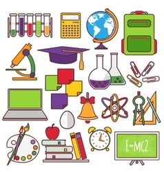 A set of school and education icons vector