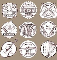 Sketch set of logo with musical instruments vector