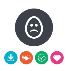 Sad egg face sign icon sadness symbol vector