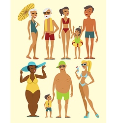 Set of beach people characters vector