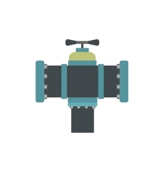 Pipe with a valve flat icon vector