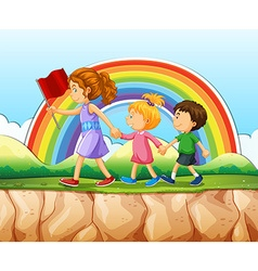 Children walking after woman on cliff vector image