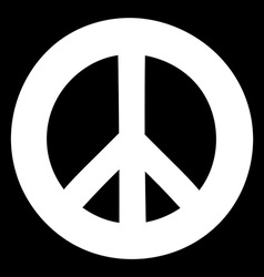 Peace sign anti-war symbol on black background vector