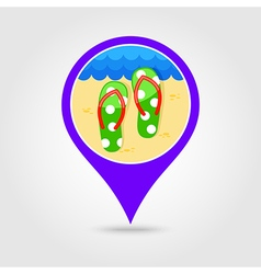 Flip flops pin map icon summer vacation vector