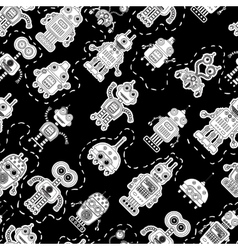 seamless pattern with robots vector image