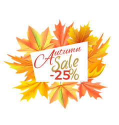 Autumn sale -25 off icon vector