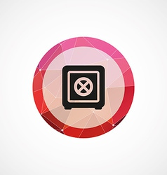 Bank safe circle pink triangle background icon vector