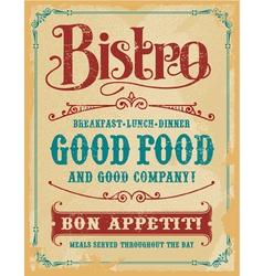 Bistro vintage poster sign vector image