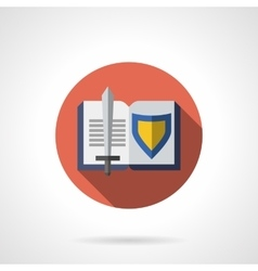 Book about knighthood flat round icon vector