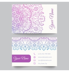 Business card template purple and white beauty vector image vector image