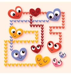 cartoon hearts in love vector image vector image
