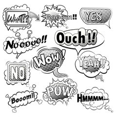 Comic speech bubbles black and white vector
