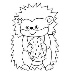 cute cartoon hedgehog with strawberry vector image