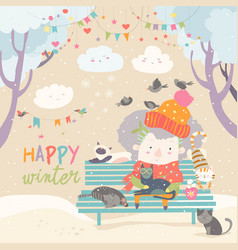 Cute old woman with kitten and bird in winter park vector