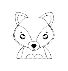 Dotted shape tender fox adorable wild animal vector